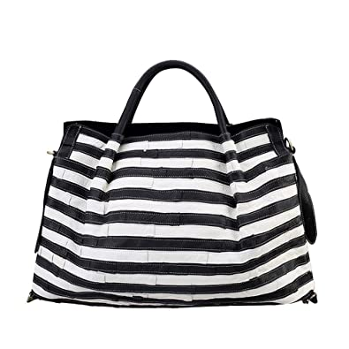 e3bceadb8c Image Unavailable. Image not available for. Color  STRIPED GENUINE LEATHER  PATCHWORK SHOULDER BAG ...