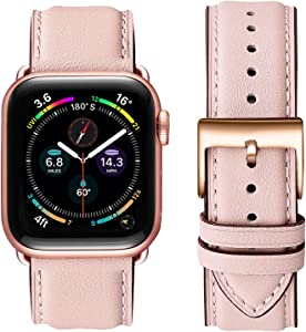 OMIU Square Bands Compatible for Apple Watch 38mm 40mm 42mm 44mm, Genuine Leather Replacement Band Compatible with Apple Watch Series 6/5/4/3/2/1, iWatch SE (Pink Sand/Rose Gold Connector, 38mm 40mm)
