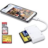 DenicMic SD CF Card Reader for iPhone iPad, 5 in 1 SD CF TF Memory Card Reader Adapter Camera Card Reader Trail Game…