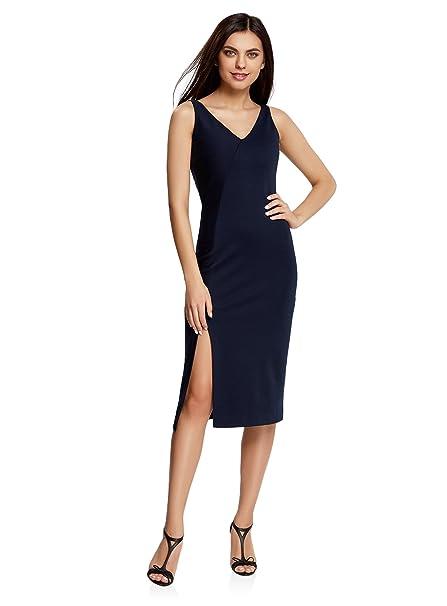 oodji Ultra Mujer Vestido de Corte Asimétrico con Abertura, Azul, ES 36 / XS