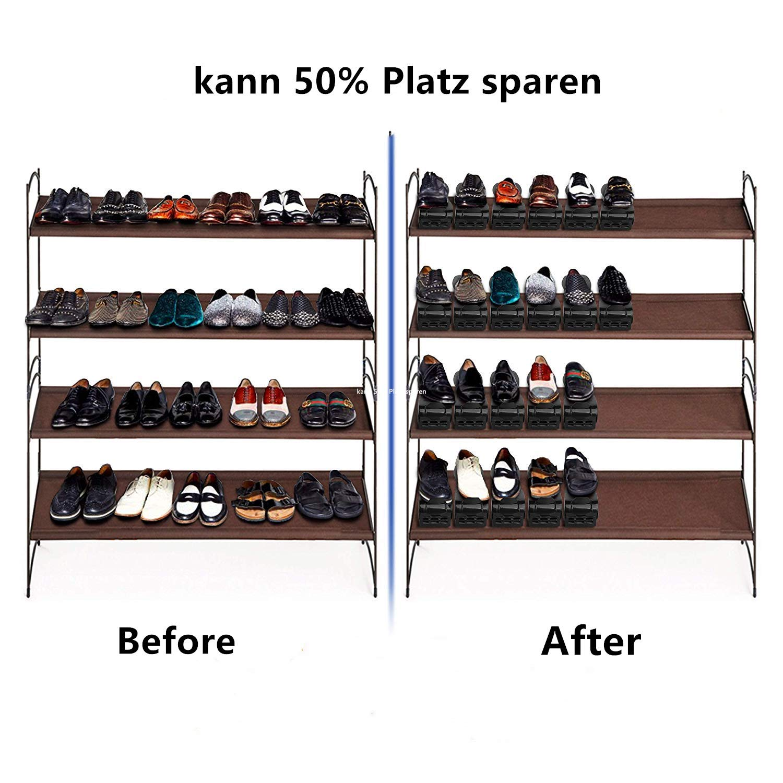Hengda Einstellbare Schuhregale Platzsparend Einstellbare Organizer PP Schuhregal rutschfest 10 St/ück Verstellbarer Schuhstapler