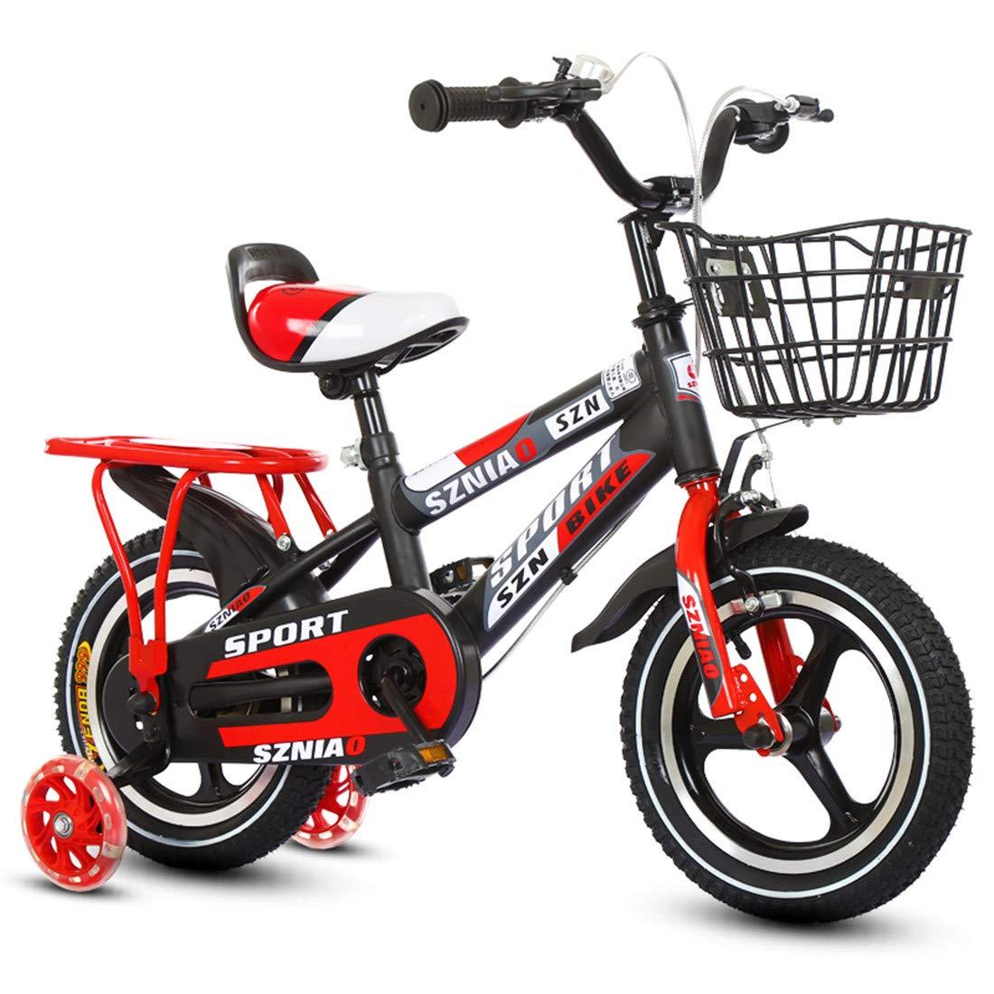 2つの補助車輪および前部および後部ブレーキが付いている子供の自転車の懸濁液の自転車 14inch red B07NVPFN7F