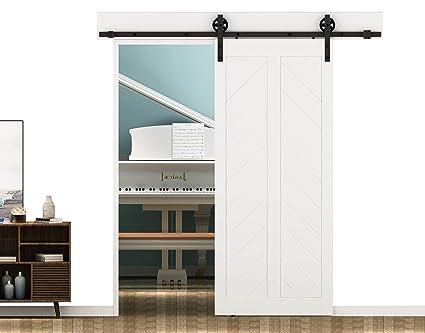 DIYHD 8ft Industrial Wheel Sliding Barn Wood Door Interior Closet Door  Kitchen Door Track Hardware (