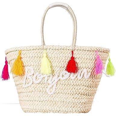 Amazon.com | Tassel Straw Bag Summer Beach Tote Bag Women Handbags ...