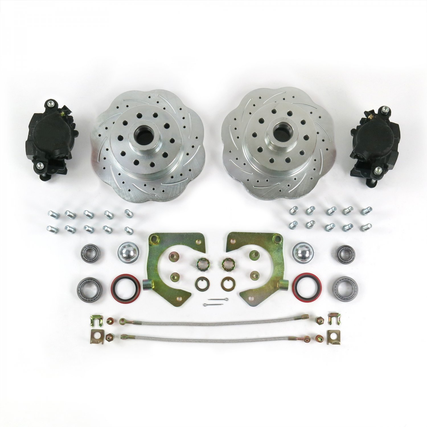 Mustang II Disc 2-Piece Spindle 11in Big Brake Conversion 5x4.5 Helix 729811 Triangulated 4-Link Kit