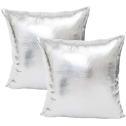 JOTOM Brillantes Fundas de Almohada de Color sólido para sofá Cama Fundas de Cojín Decorativos,45X45cm,Juego de 2 (Plata)