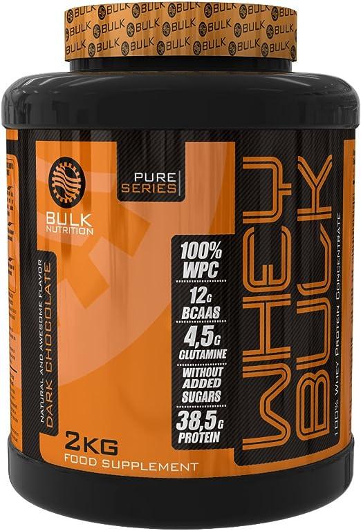 Bulk Nutrition Whey Pro+, 2000gr - proteína concentrada de suero - chocolate