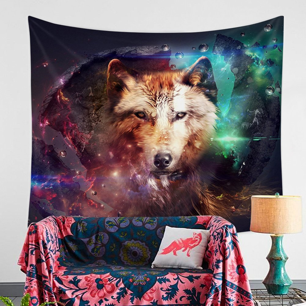 Animal Tapestry Multicolor Wolf Galaxy Hipster Cat Wear Color Sunglasses and Unicorn Painting Wall Hanging Wall Decor Art Home Decor (4, 78Wx59L)