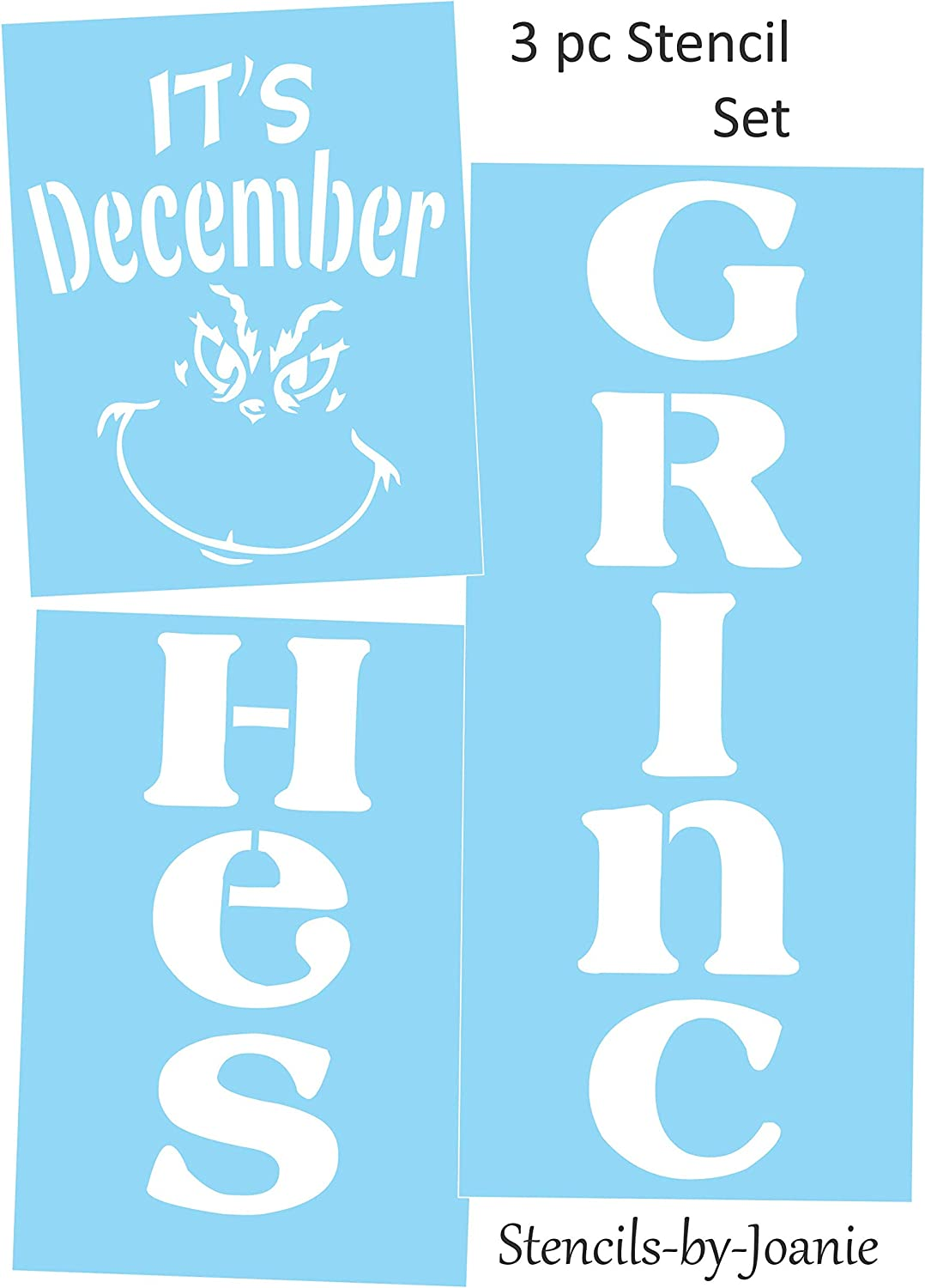 Joanie Its December Grinches 10x50 Stencil Vertical Holiday DIY Porch Home Decor