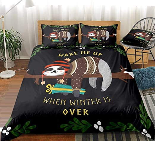 Twin Sleepwish Kids Duvet Cover Set Cartoon Space Sloth Print 4 Piece Bedding Set with 2 Pillow Shams and 1 Cushion Cover Funny Astronaut Sloth Bed Set Childrens Quilt Cover Black Brown