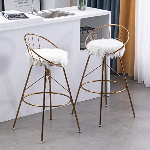 Awonde Swivel Bar Stools with Back Gold 30 White Faux Fur Bar Chairs Counter Barstools Set of 2