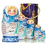 Russian Nesting Doll - Winter`s Tale - Hand Painted in Russia - Moscow Kremlin Gift Box - Wooden Decoration Gift Doll - Tradi