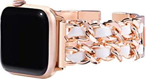 Surace Compatible with Apple Watch Series 6 Bands Women Bracelet Replacement for Apple Watch Series 5 Series 4 40mm 38mm Compatible with Apple Watch SE, Rose Gold Link with White Leather
