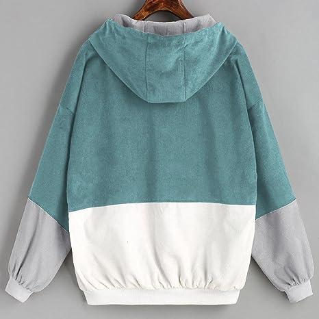 Sannysis Sudaderas Mujer, Sudaderas Tumblr Blusas de Mujer de Moda Invierno Camisetas de Manga Larga Suelta Blusas Mujer Tallas Grandes Patchwork Chaqueta ...