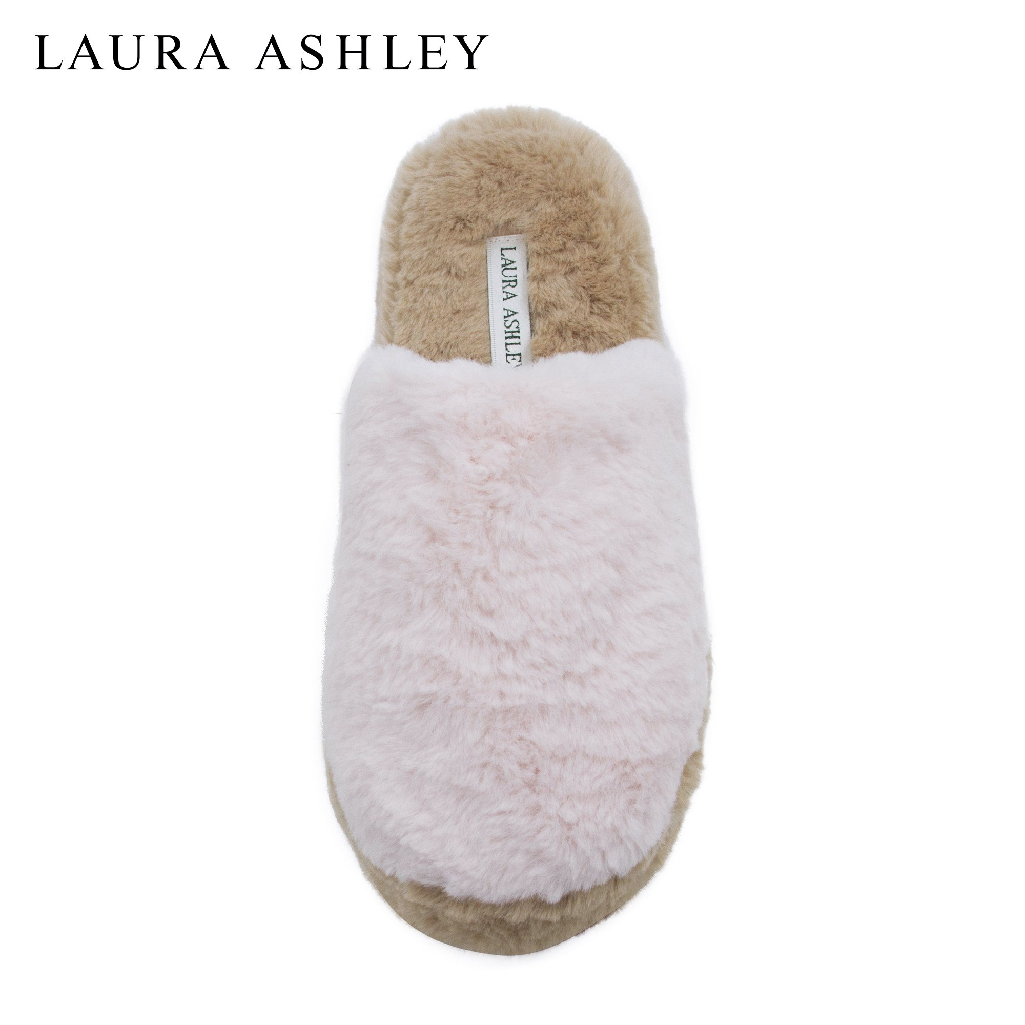 Laura Ashley Ladies Plush Pillow Cushioned Wedge Slippers, Pink Tan/Pink, X Large