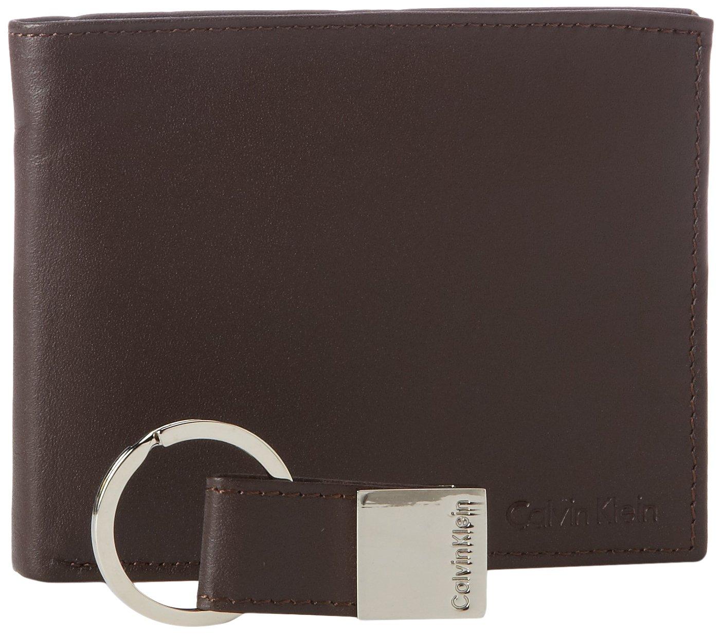 Calvin Klein Men's Leather Bookfold,Brown,One Size