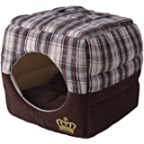 Soft Plaid Cat Cube House - Deluxe Pet Bed for Small Dogs, Classic & Fashion Royal Crown With Thick Soft Cotton Fabric, Breathable Lining Warm & Cozy