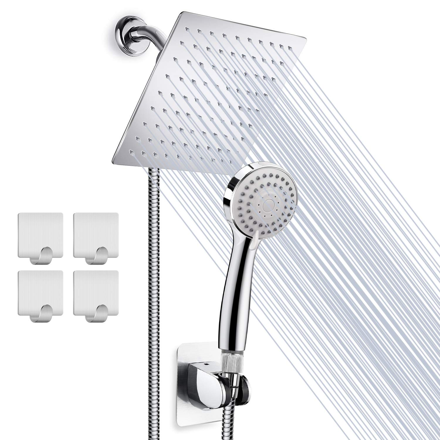 High Pressure 8 Rainfall Stainless Steel Shower Head Handheld Combo with 60 Hose Anti-leak Shower Head with Holder, Flow Regulator, Chrome, 4 Shower Hooks