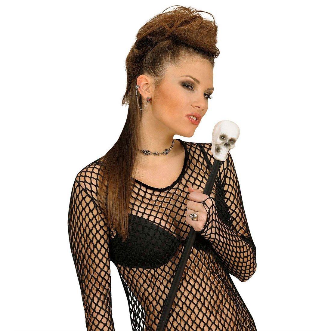 Canne tête de mort canne crâne 80 cm canne de promenade gothique 80 cm canne de dandy canne à pommeau accessoire déguisement Halloween NET TOYS