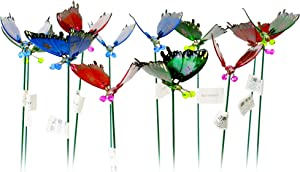 Oakthrift Pack of 12-4 Inch Springy Windy Wings Exhart Butterfly Garden Stakes Décor, Yard Art, Indoor Outdoor Lawn Pathway Patio Ornaments - 18 Inches Tall