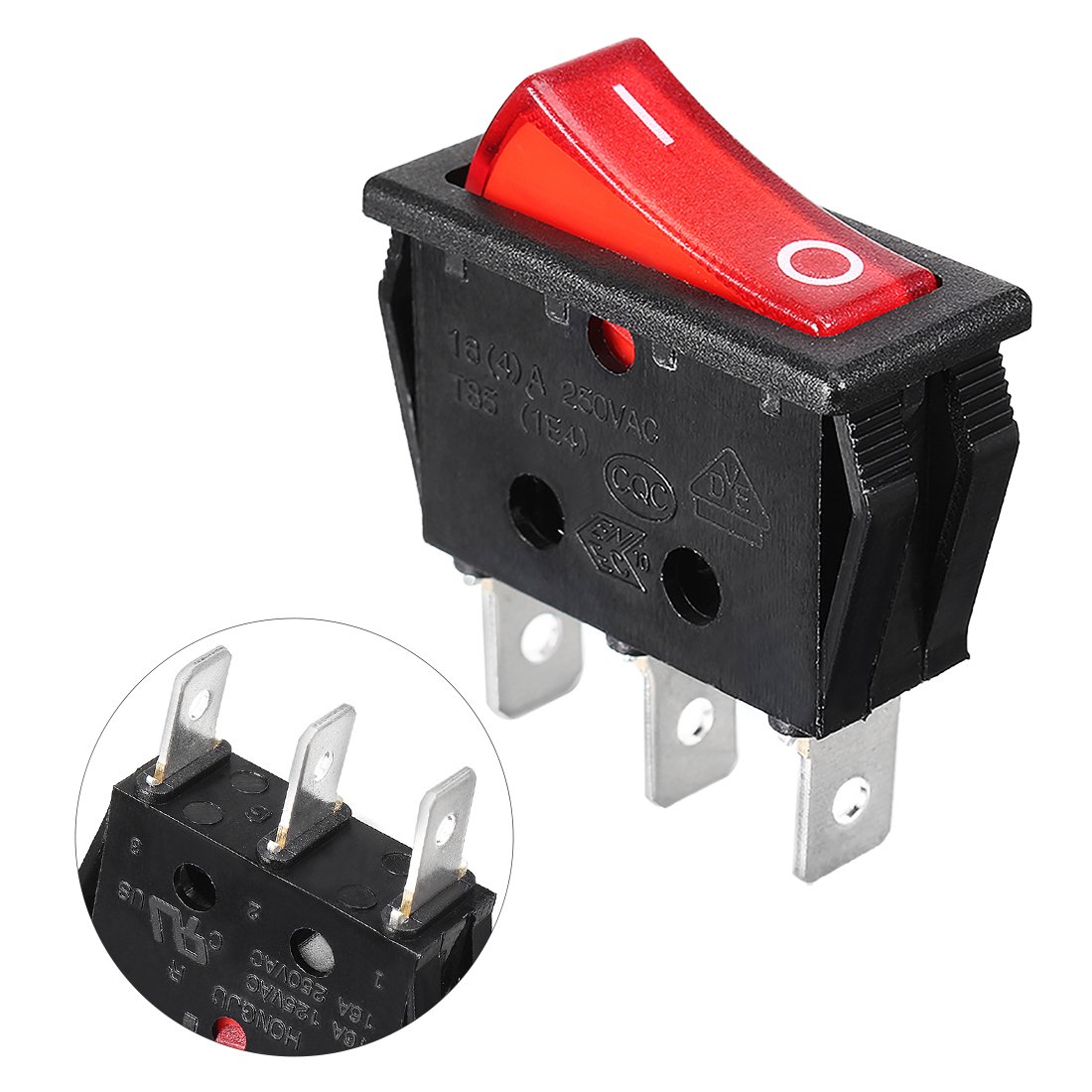 Amazon.com: uxcell Red Light 3 Terminals Boat Rocker Switch AC 250V ...