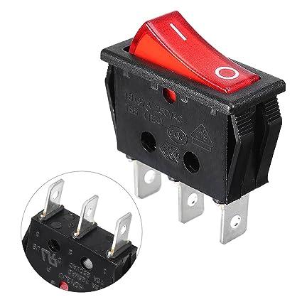 uxcell red illuminated light on off spst boat rocker switch 16a 250v ac rocker switch wiring 4 pin amazon com waterwich 5 pin rear lights