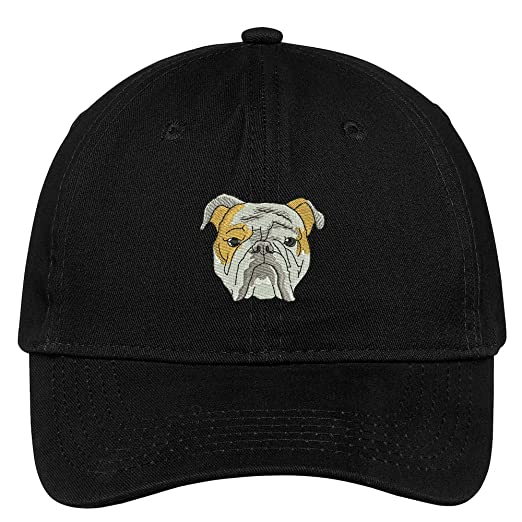 288b178b064 Trendy Apparel Shop English Bulldog Head Embroidered Low Profile Soft  Cotton Brushed Cap - Black