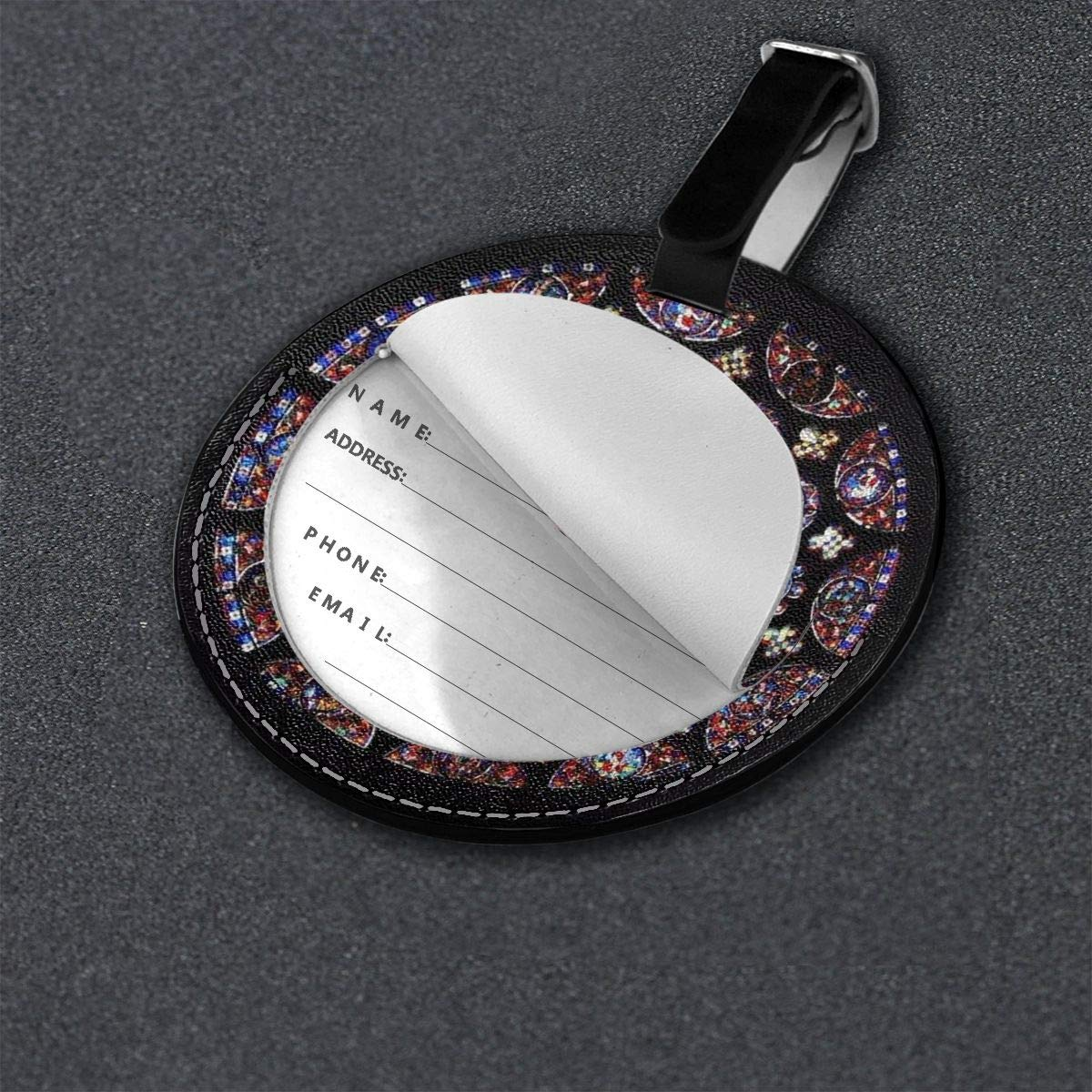 Free-2 Round Glass Windows in The Church Luggage Tag 3D Print Leather Travel Bag ID Card