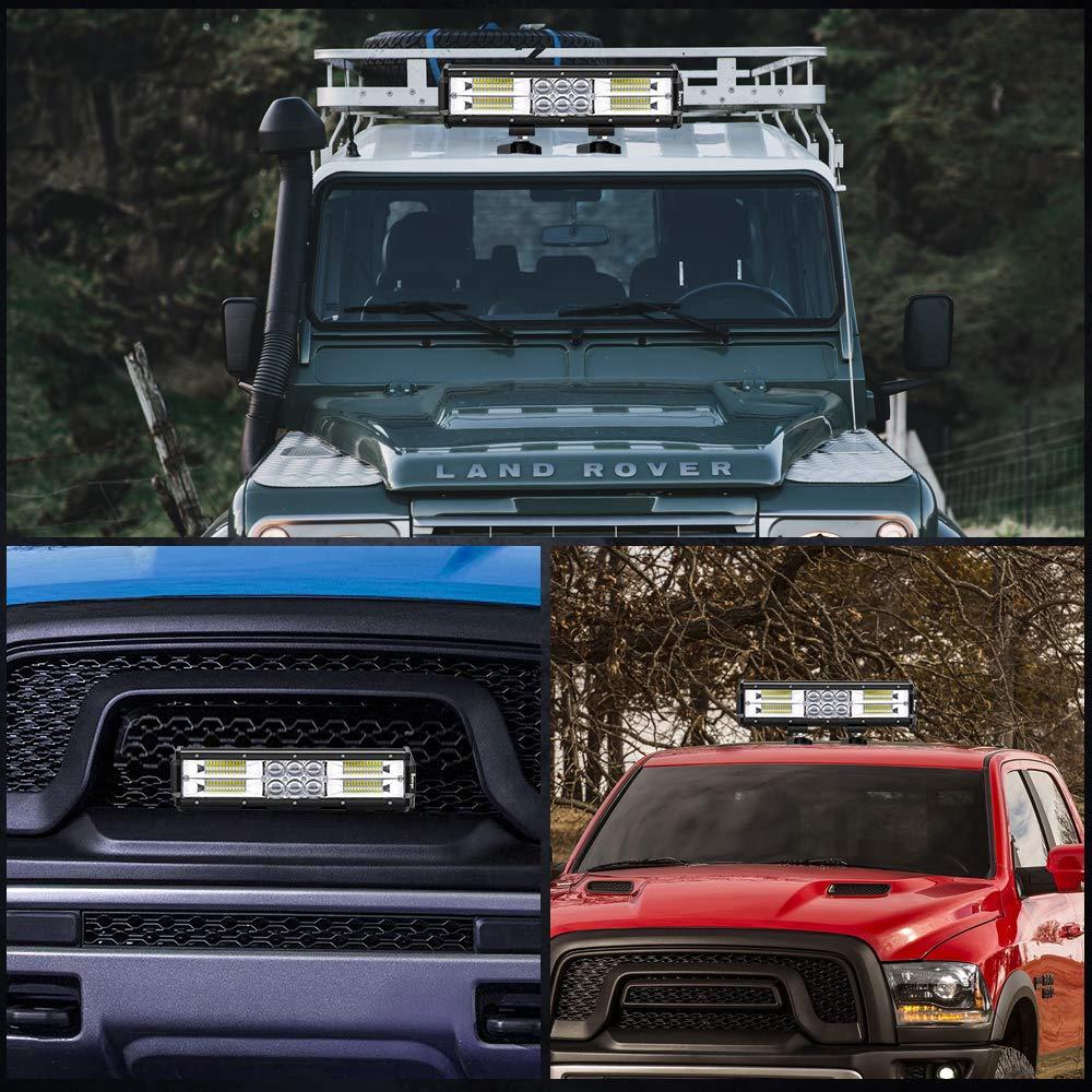 Lot de 10 Feux Antibrouillard pour Voiture Hors Route Tracteur Camion SUV ATV B/âteau Caravane 12V 24V IP67 Imperm/éable Safego 4 72W Projecteur LED Lampe de travail Barre LED Phare 6000LM