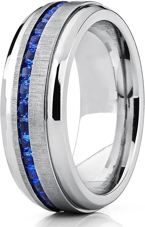 Bague de mariage en titane avec zircone cubique bleu.Pour Homme Int/érieur Confort