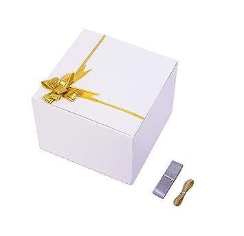 Amazon.com: 10 cajas de regalo de cartón blanco con tapas ...