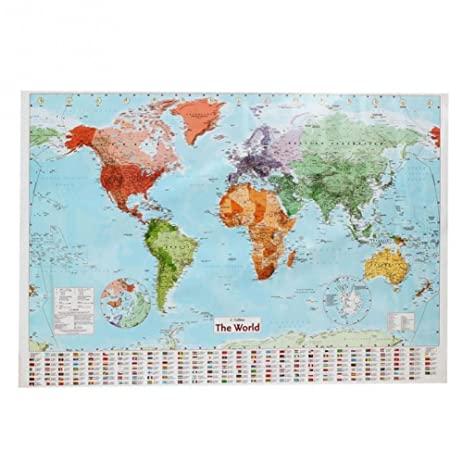 Amazon english world map waterproof big large map of the world english world map waterproof big large map of the world poster with country flags 975 x gumiabroncs Image collections