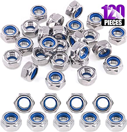 100pc Nylock Nut Assortment Kit sizes M4 M5 M6 M8 M10