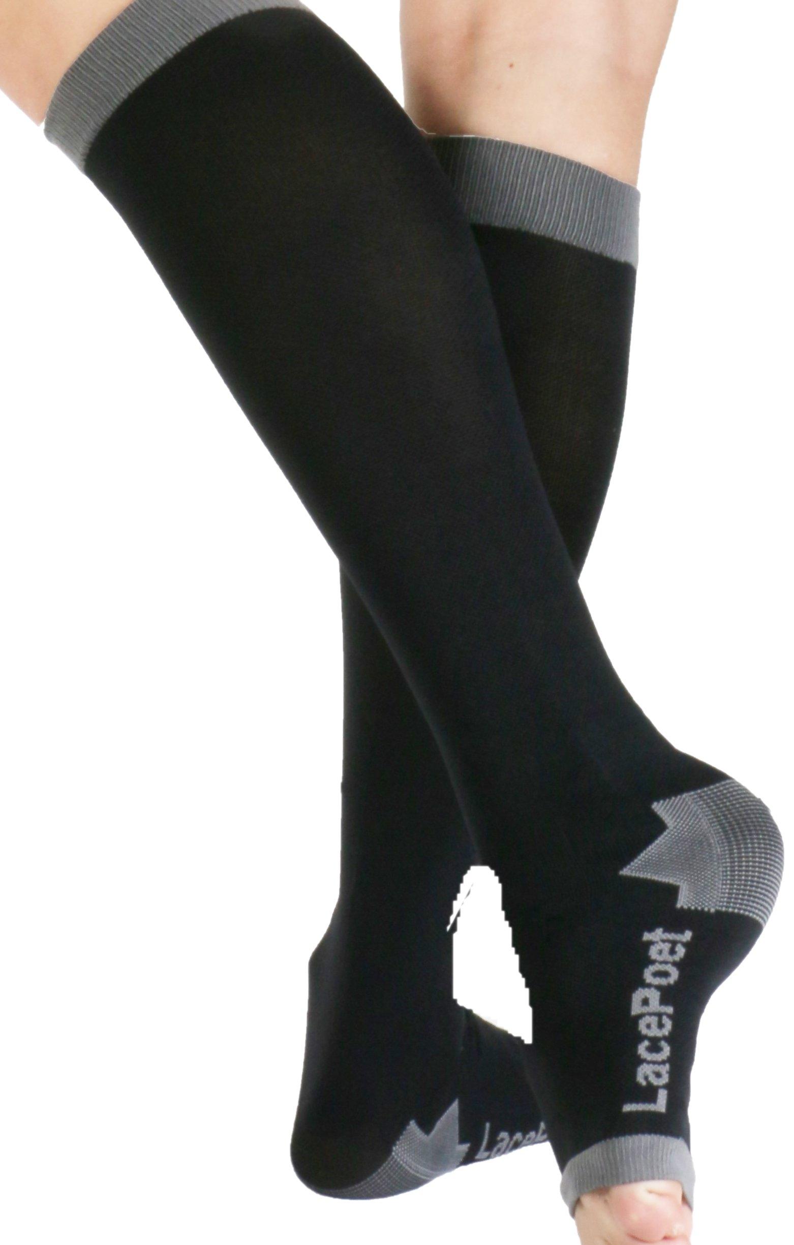 Lace Poet Knee-High Yoga/Sleep Compression Toeless Socks Black/Gray