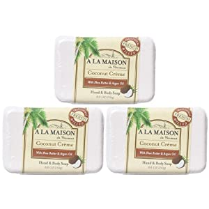 A La Maison de Provence Bar Soap   Coconut Creme Scent   French Milled Moisturizing Natural Hand and Body Soap   8.8 Oz each (3 Pack)