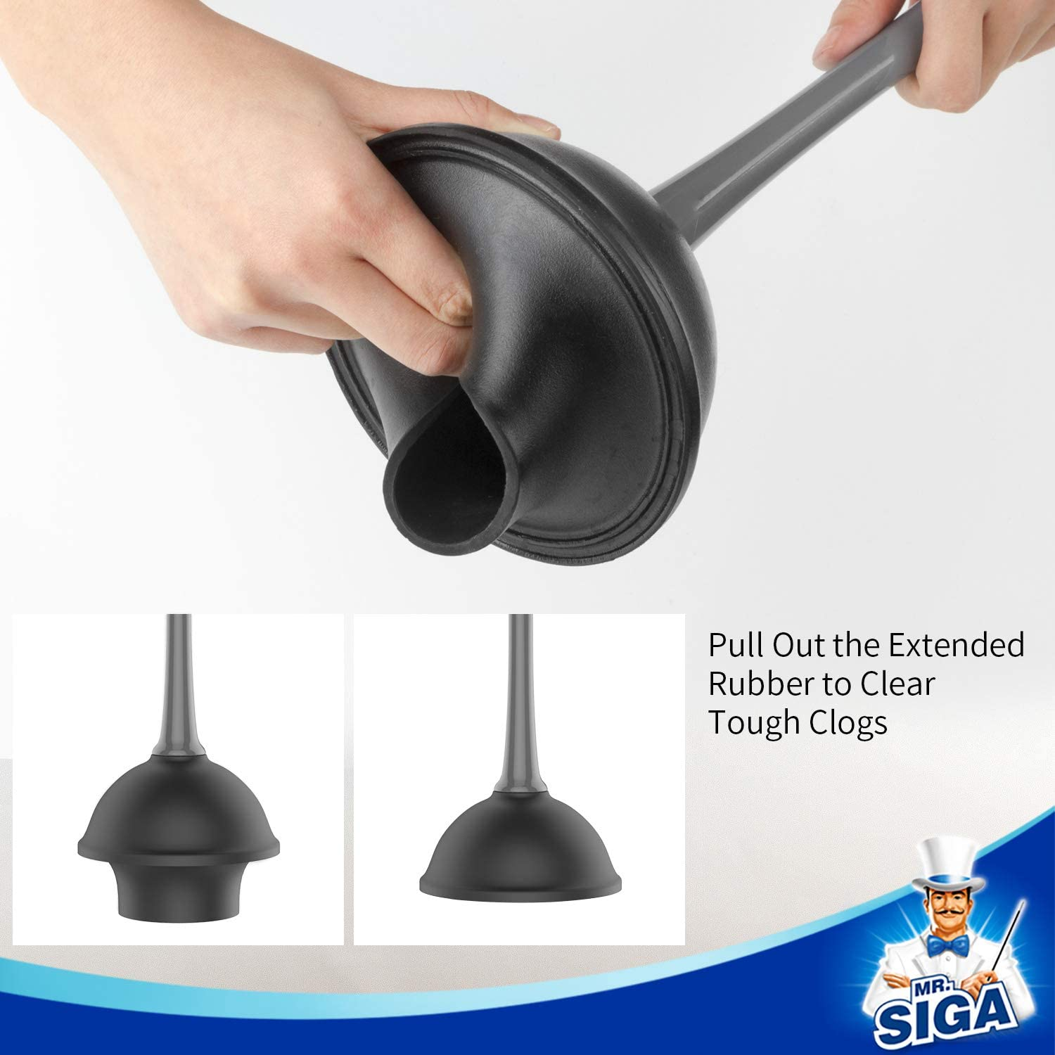 Gray MR.SIGA Toilet Plunger and Bowl Brush Combo for Bathroom Cleaning