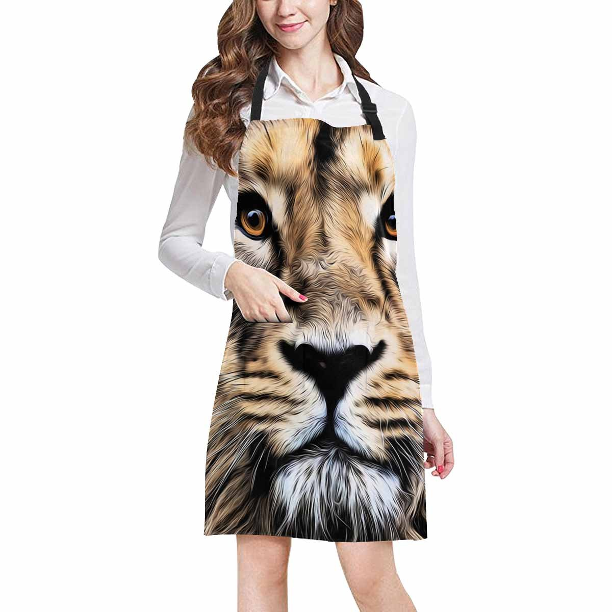 InterestPrint Abstract Animal Art Decor, Young Asian Lion Face Chef Aprons Professional Kitchen Chef Bib Apron with Pockets Adjustable Neck Strap, Plus Size