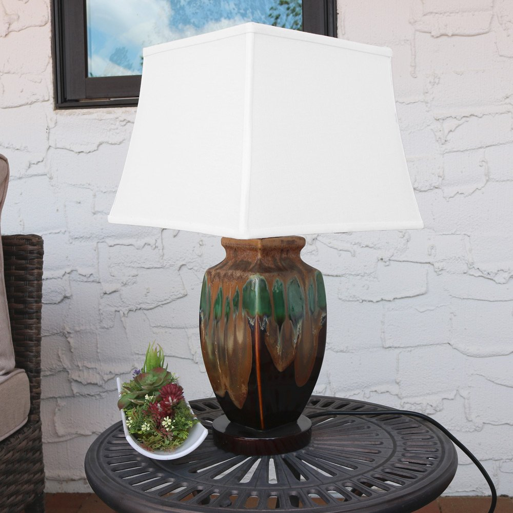 Sunnydaze Indoor/Outdoor Weather Resistant Table Lamp Multi-Colored, Ceramic by Sunnydaze Decor