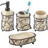 InterDesign Twigz Bath Accessory Set, Soap Dispenser Pump, Toothbrush Holder, Tumbler, Soap Dish - 4 Pieces, Vanilla/Bronze