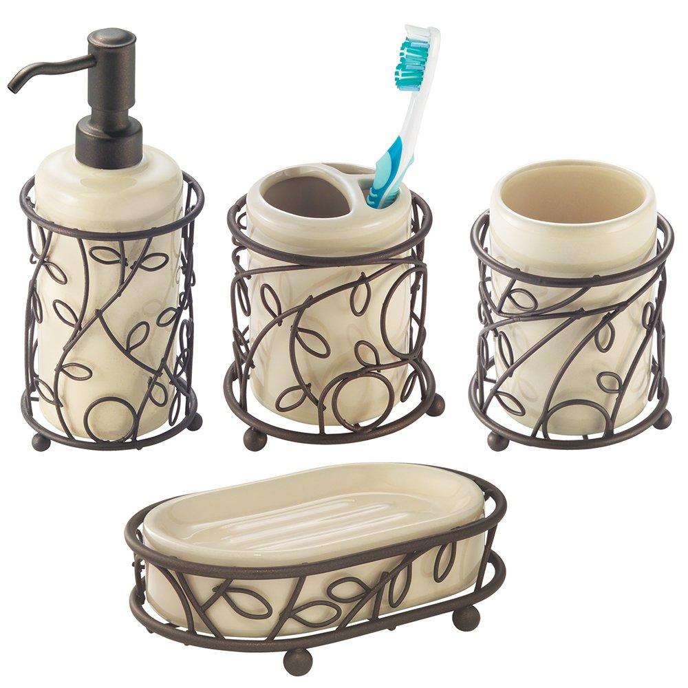InterDesign Twigz Bath Accessory Set, Soap Dispenser Pump, Toothbrush Holder, Tumbler, Soap Dish - 4 Pieces, Vanilla/Bronze by iDesign