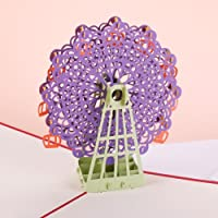 ZHUOTOP Ferris Wheel Card, 3D Card, Birthday Card, Valentine's Card, Springtime Card, Handmade Pop up Card