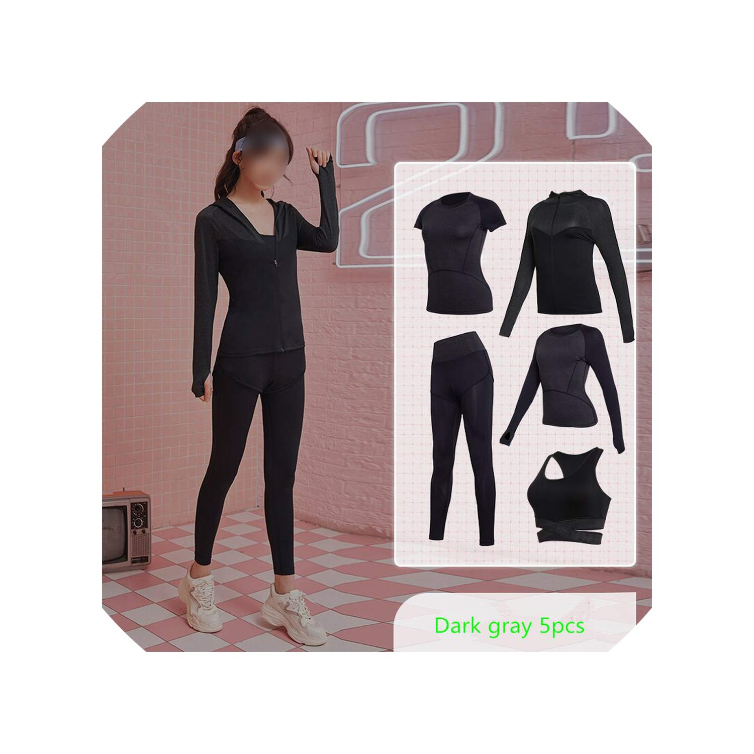 Bats 4379 WBeauty Women's Yoga Clothes Set Running Tights Sportswear Quick Dry