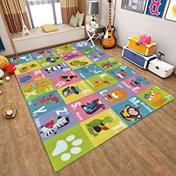 Numbers and Shapes Educational Area Rug Baby Play Mat K Playtime Collection ABC