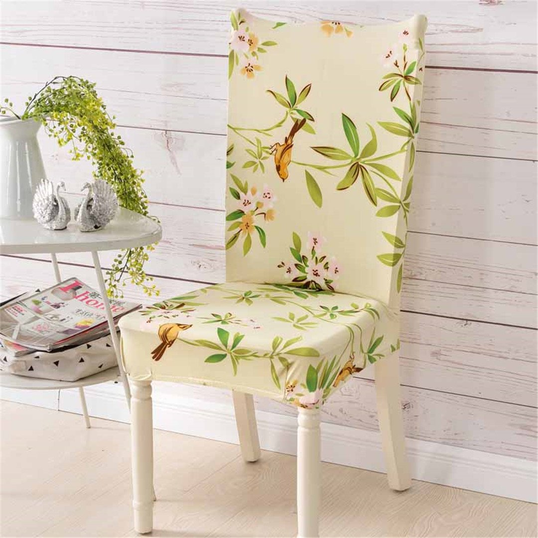 Chair Cover Spandex Elastic Flower Printing Four Seasons Home Anti-Dirty Dining Case For Banquet Party 17 one size