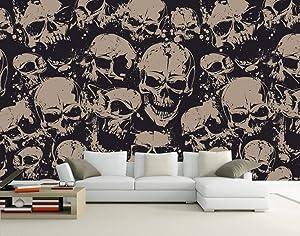 Custom 3D Photo Wallpaper Mural Living Room Sofa Tv Backdrop Wallpaper Skull Black and White 3D Picture Wallpaper Home Decor,5D,300X210cm