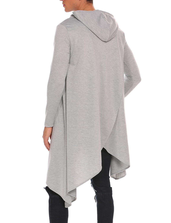 COOFANDY Mens Casual Hooded Poncho Cape Cloak Irregular Hem Hoodie Pullover