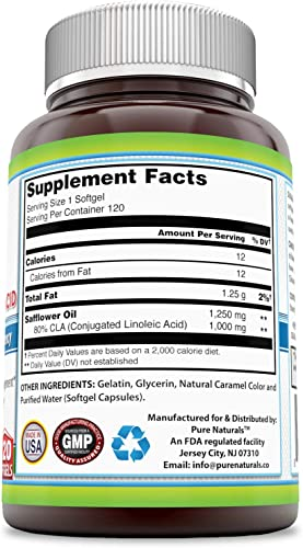 Pure Naturals- CLA Conjugated Linoleic Acid Dietary Supplement – 1,250 Milligrams – 120 Softgels – Promotes Healthy Weight Management – Supports Immune Health