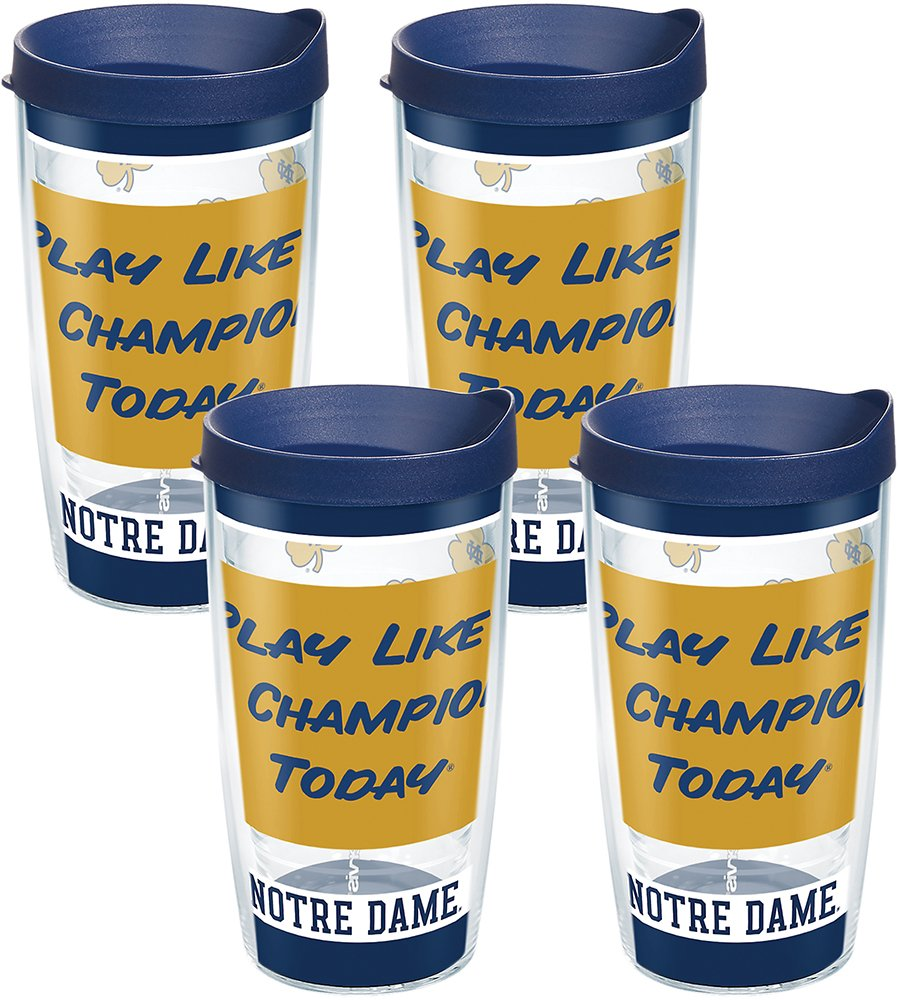 Clear Tervis 1275573 Notre Dame Fighting Irish Play Like a Champion Today Tumbler with Wrap and Navy Lid 16oz