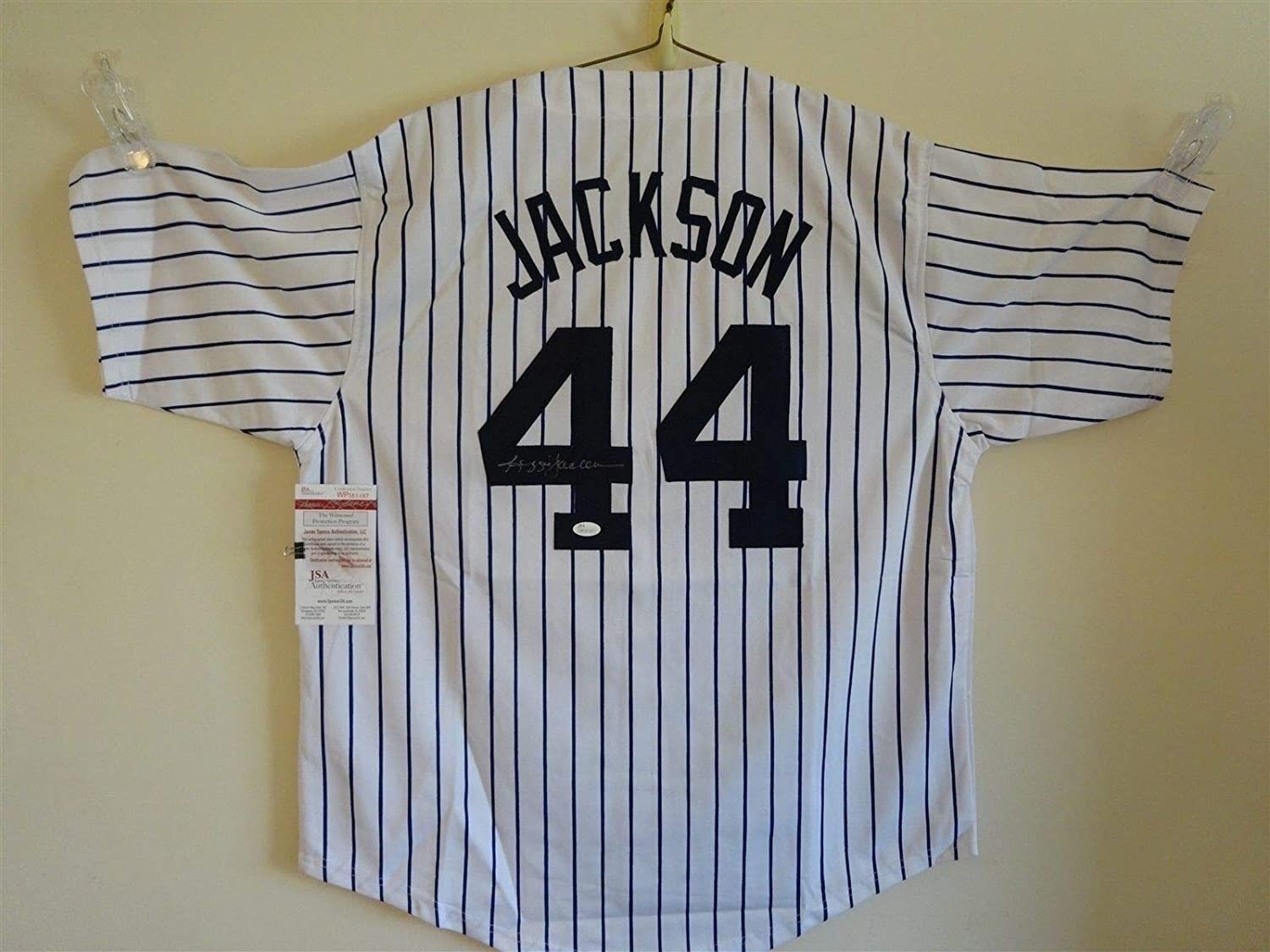 best website 86f96 89d66 REGGIE JACKSON SIGNED AUTO NEW YORK YANKEES PINSTRIPE JERSEY ...