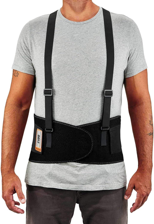 """Ergodyne ProFlex 100 Back Support Brace, 8"""" Spandex Belt, Adjustable, Removeable Straps (RA5762), Black, XL - Back Support Belts -"""